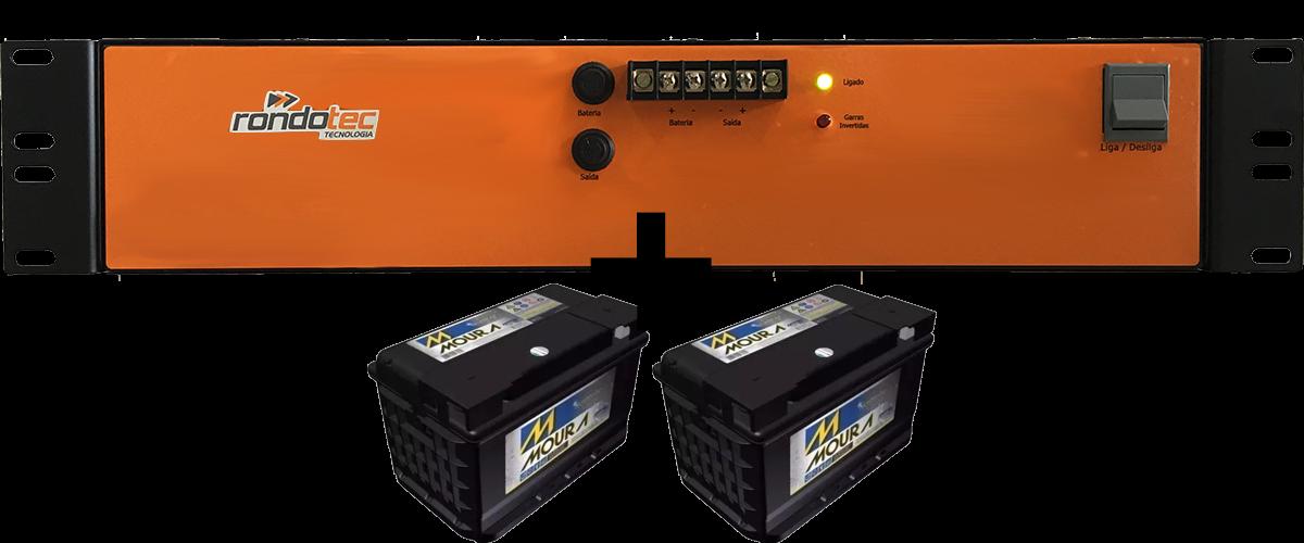 Kit Fonte Nobreak 24V 25A com Inversor 110/220V Rack 19 + 2 Baterias Moura 12MN63 12V 63Ah Estacionárias
